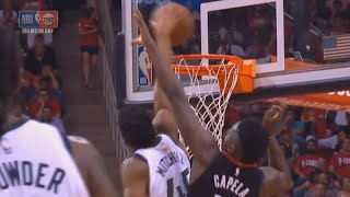 Donovan Mitchell dunks over Clint Capella and shocks the rockets crowd!!