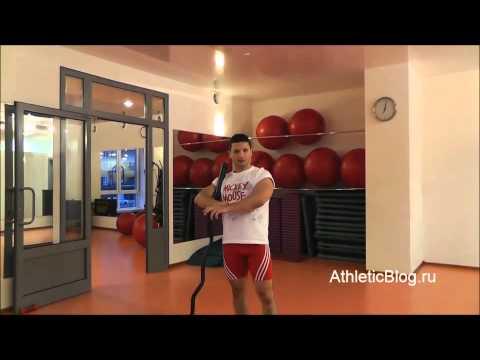 Французский жим со штангой стоя. Техника выполнения упражнения. Обучающее видео.