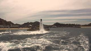 FlyBike-X1 flying with the Jetlev in front of the Cabo Submarine, Cabo San Lucas, Mexico