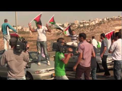 Palestinians block Apartheid Road 443 - Oct. 16, 2012