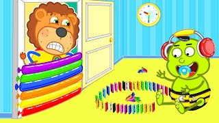 Play with colorful dominoes #3 | Lion Family | Cartoon for Kids