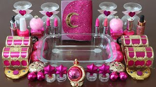 """Mixing""""Pink Moon"""" Eyeshadow and Makeup,parts,glitter Into Slime!Satisfying Slime Video!★ASMR★"""
