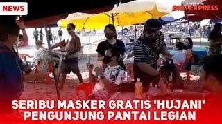 Seribu Masker Gratis 'Hujani' Pengunjung Pantai Legian