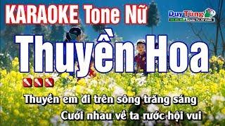 Karaoke || Thuyền Hoa - Tone Nữ || Nhạc Sống Duy Tùng