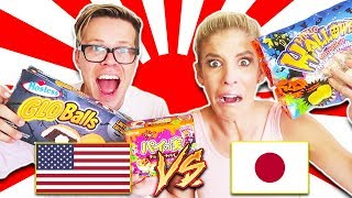 AMERICAN HALLOWEEN CANDY VS. JAPANESE HALLOWEEN CHANDY FOOD CHALLENGE! (Day 289