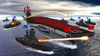 Minecraft | RAFT FORT VS UNITED STATES WARSHIP! (Boat Wars Challenge)