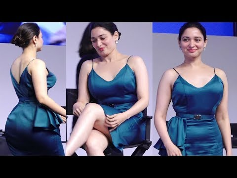 Tamanna Bhatia Hot In Silky Dress At New Makeup Launch