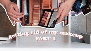 entire makeup collection declutter ✌🏼 part 1