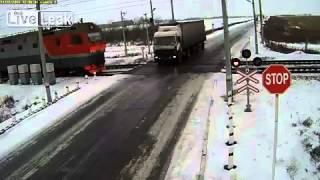 NEW Lucky Driver vs. Train at railcrossing in Irkutsk, Russia  [Real Life Stuntman]
