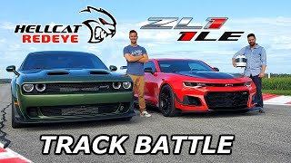 2019 Dodge Hellcat Redeye vs Chevy Camaro ZL1 1LE - DRAG RACE & LAP TIMES