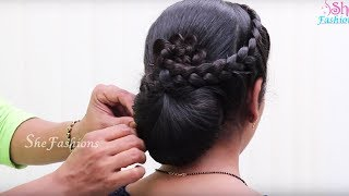 Braided Bun Hairstyle Easy Lace Braid Bun Juda Hairstyle - Hairstyle bun videos