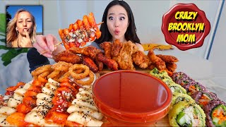 4x NUCLEAR KOREAN STREET FOOD (Fried Chicken, Spicy Rice Cakes, Kimbap) MUKBANG 먹방   Eating Show