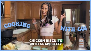 Cooking With Coi Leray -  Chick-fil-A Chicken Biscuits With Grape Jelly