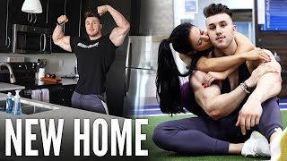 WELCOME TO OUR NEW HOME!! REVEALING THE APARTMENT | FULL TOUR + CHEST WORKOUT