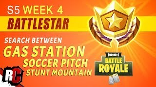 Fortnite | Search Between Gas Station, Soccer Pitch and Stunt Mountain (Week 4 Battle Star Location)