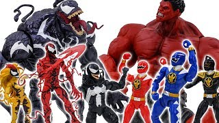 Power Rangers & Marvel Avengers Toys Pretend Play | Red Hulk vs Venom Army Rescue Superhero