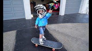 Mini Jake Paul SKATEBOARDS At The Team 10 House!! (SO FUNNY!)
