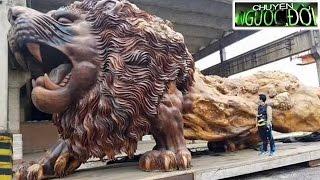 Tưởng là khúc cây bỏ đi ai ngờ hóa thành bức tượng sư tử lớn nhất thế giới