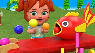 Learn Colors for Children with Little Baby Girl Fun Play Color Balls Wooden Fish Slider ToySet Kids - YouTube