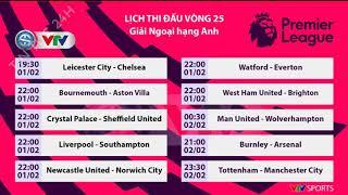 Lịch thi đấu vòng 25 Ngoại hạng Anh