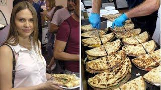Italy Street Food. Great Skills. Stuffed Flat Bread 'Spianata Bolognese'