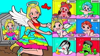 Paper Dolls Dress Up - Infants Lucky Rapunzel Family Angels Dress - Barbie Story & Crafts