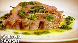 Leg of Lamb with Goats Cheese and Mint - Gordon Ramsay