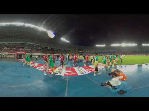 6K 3D demo shot: Footballers walking out on the match filed in rainy night @KanDaoVR
