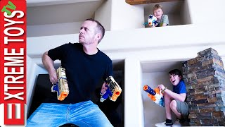 Sneak Attack Payback on Dad! Ethan and Cole Family X-Shot Blaster Battle!