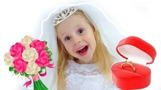 Nastya as a bride and princess