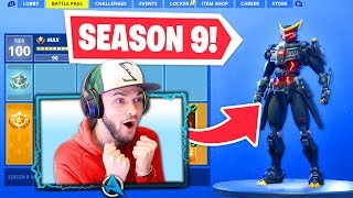 *NEW* SEASON 9 BATTLE PASS in Fortnite! (100% UNLOCKED)