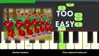 The Ants Go Marching One By One Song - Slow Easy Piano Tutorial - Right Hand
