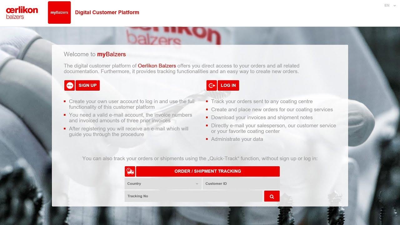 myBalzers tutorial - order tracking