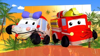 Adventure in the Pyramid - Tiny Town: Street Vehicles Ambulance Police Car Fire Truck