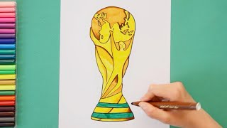 How to draw and color FIFA World Cup Trophy 2018