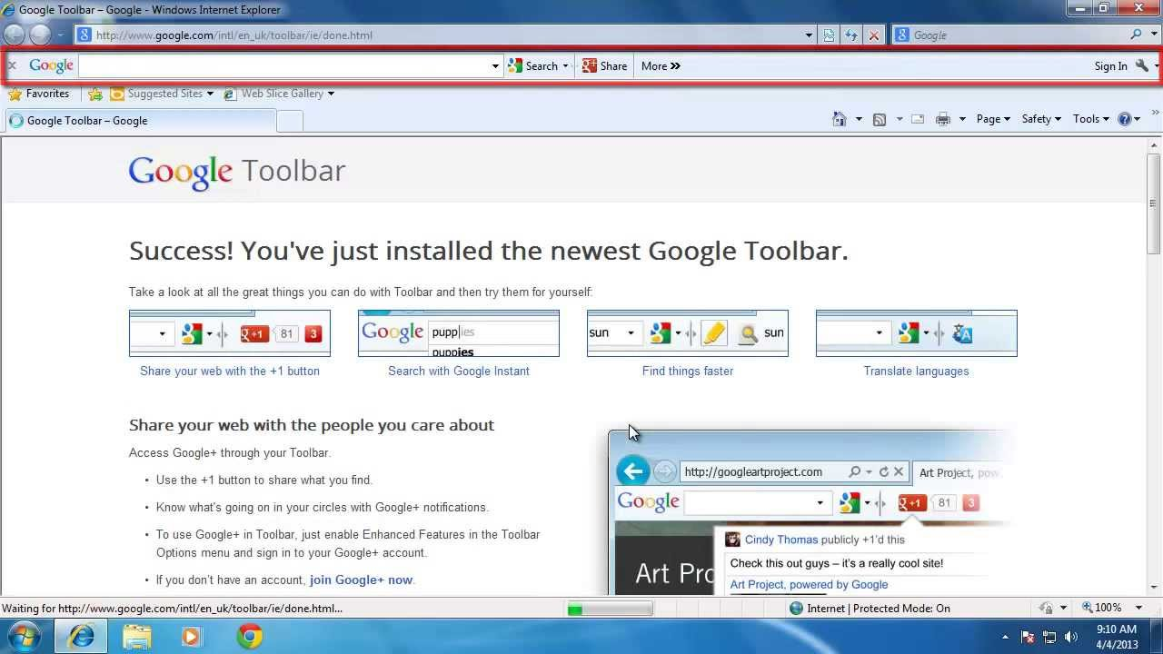 how to download the google toolbar