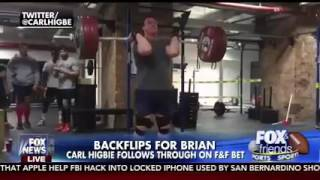 Navy SEAL Carl Higbie does backflip! (after deadlifting 330 pounds)!