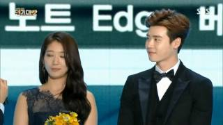 [31.12.14]Lee Jong Suk & Park Shin Hye - Best couple SBS Drama Awards 2014