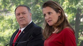 Mike Pompeo y la ministra de Asuntos Exteriores canadiense, Chrystia Freeland, hablan sobre la crisis en Venezuela