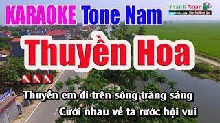 Thuyền Hoa Karaoke   Tone Nam ( Bản Đẹp) - Nhạc Sống Thanh Ngân
