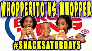MUKBANG: BURGER KING'S WHOPPERITO VS THE WHOPPER! EAT WITH US! #YUMMYBITESTVKIDS