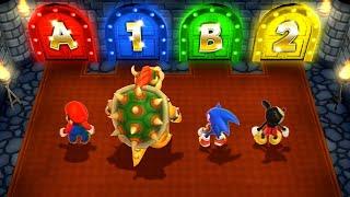 Mario Party 9 MiniGames - Mario Vs Sonic Vs Mickey Mouse Vs Bowser (Master Cpu)