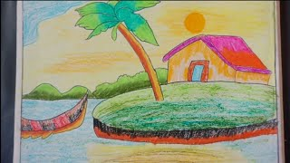 Beautiful scenery drawing- By my student