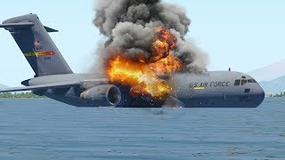 C-17 Emergency Landing On Ocean Due To Fire Engines   X-Plane 11