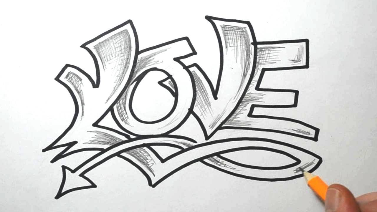 I Love You Drawings: How To Draw LOVE In Graffiti Lettering