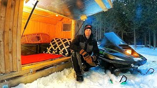 """Solar Heated Snowmobile Camper Journey - Solo Winter Camping in my """"Sled Cabin"""""""
