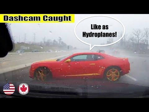 Ultimate North American Car Driving Fails Compilation: The One With Camaro hydroplanes
