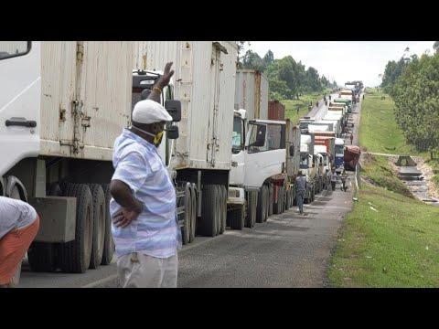Traffic jams at Kenya-Uganda border as truck drivers undergo health checks | AFP photo