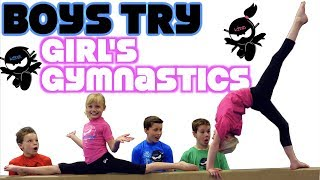 BOYS try GIRL'S Gymnastics!  Ninja Kidz Tv