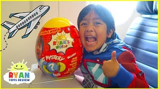 Ryan Opening Giant Surprise Egg Toy on the airplane!!!